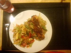 Chinese Salmon, Egg Fried Noodles and Stir Fry