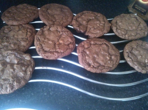 Homemade triple chocolate chip cookies