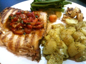 Belated father's day present. Cooked parents and swordfish, roasted baby potatoes and vegetables with homemade salsa.