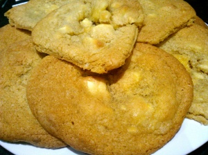 Homemade white chocolate fudge cookies
