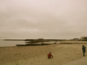 View along Lyme Regis beach.