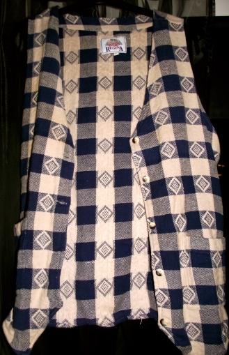 Retro blue and white waistcoat: £2