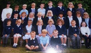 The one in the centre with the square blonde hair. Yeah, that's me.
