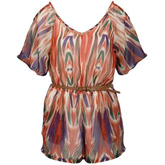 Multi Coloured Belted Playsuit with Cut Out Shoulders and Back, £21.99 - Ontherunway