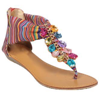 Multi Stripe Jewel Sandal Shoe, £18.99 - Ontherunway