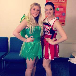 My birthday - first outfit - Tinkerbell and Cheerleader.