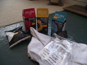 The equipment needed to dye the tshirts.